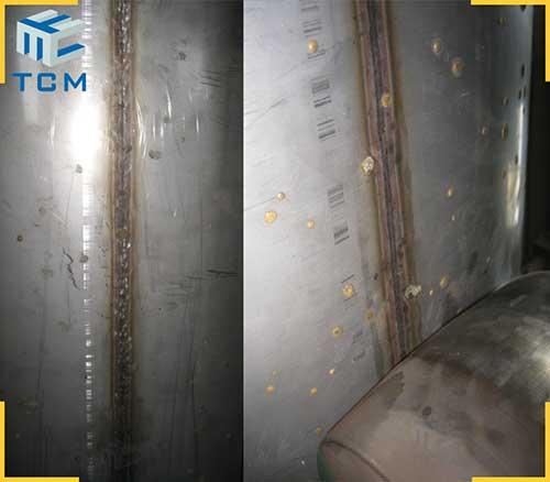 Steel tank longitudinal welded seam flatten machine