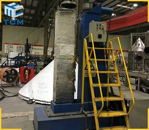 Tank circular welded joints planishing machine