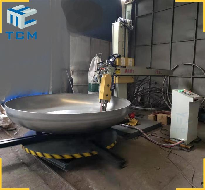 Steel tank cover polishing machine from Trancar Industries